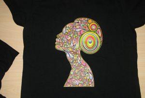Exemple d'impression de t-shirt noir avec l'imprimante de t-shirt A2 WER-D4880T