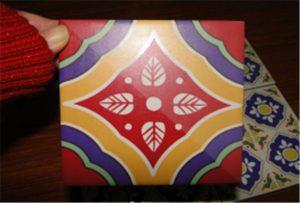 Échantillon de carreaux de céramique imprimé sur une imprimante uv A2 WER-D4880UV